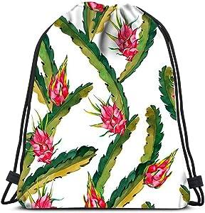 Drawstring Backpack Tropical Fruits Exotic Leaves And Fruit Dragonfruit Pitaya Laundry Bag Gym Yoga Bag