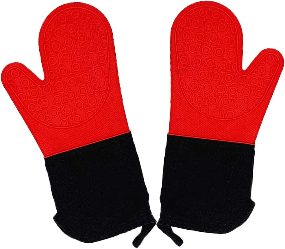 CINLITEK 1 Pair Extra Long Oven Mitt, Cooking Safe Oven Gloves, Flexible Oven Mit,Silicone Oven Mitts and Pot Holders Heat Resistant 500°F for Cooking in Kitchen with Soft Inner Lining(red)