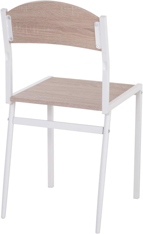 homcom Set da Pranzo Tavolino e 4 Sedie in Metallo e MDF Legno, Bianco