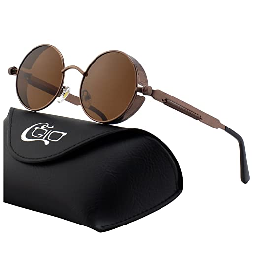 Steampunk Accessories | Goggles, Gears, Glasses, Guns, Mask CGID E72 Retro Steampunk Style Inspired Round Metal Circle Polarized Sunglasses for Men £14.99 AT vintagedancer.com