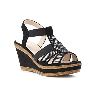 1a3138e431a Cushion Walk Womens Black High Wedge Sandal  Amazon.co.uk  Shoes   Bags