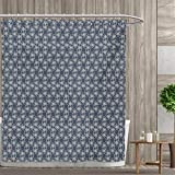 dark grey curtains 90 x 90 smallfly Japanese Fabric Bathroom Decor Set with Hooks Hexagons Triangles with Spring Flowers Eastern Geometric Tile Shower Curtains Waterproof 72
