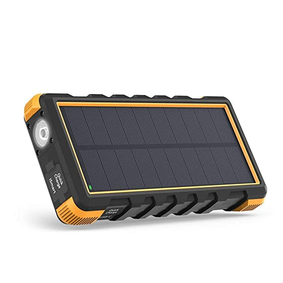 the best attitude aac76 36caf Solar Phone Charger RAVPower 25000mAh Outdoor Portable Solar Power Bank  with USB C Input, Waterproof Battery Pack for Outdoor Camping (Yellow)