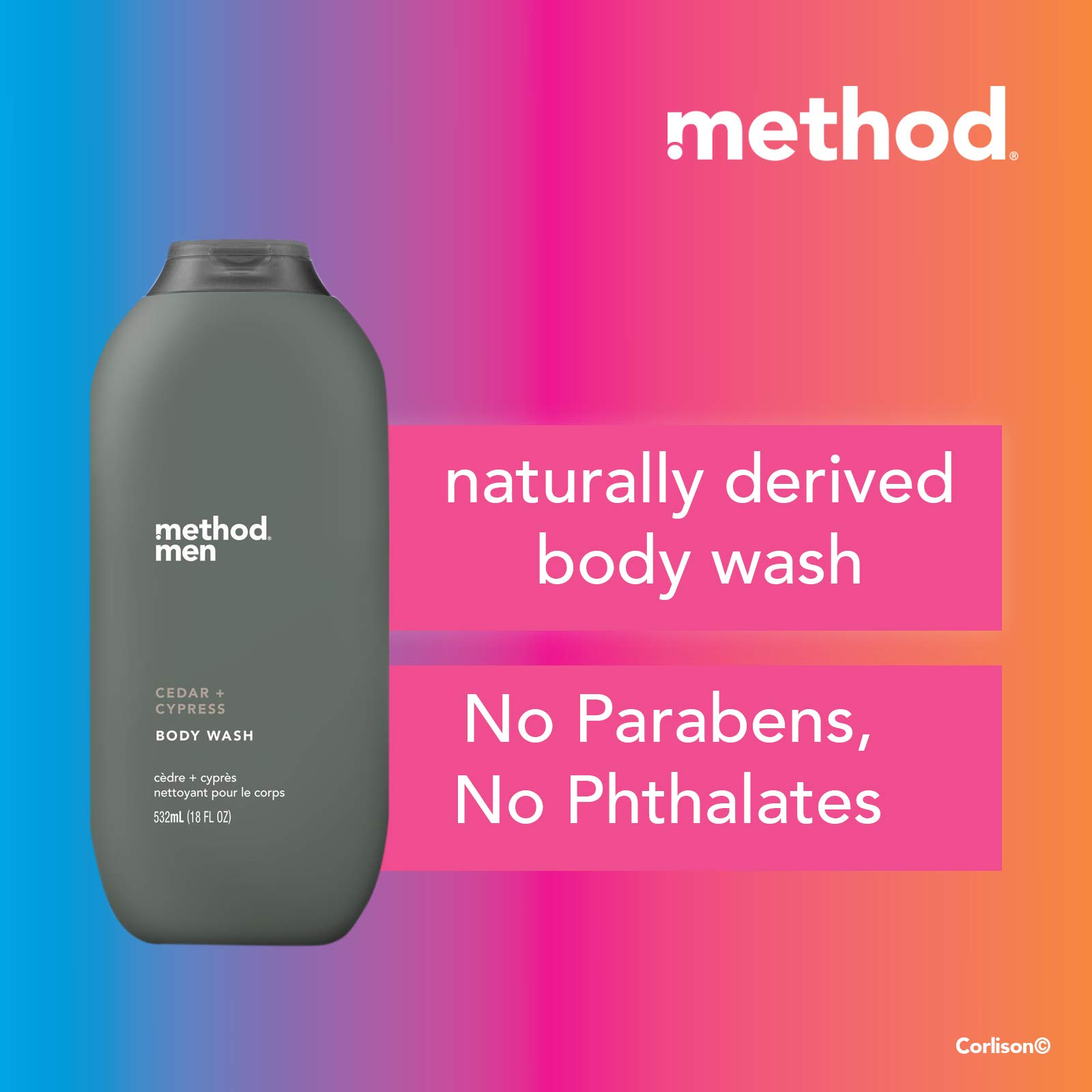 Method Men, Cedar + Cypress Body Wash, 18oz, 18 Fl Oz