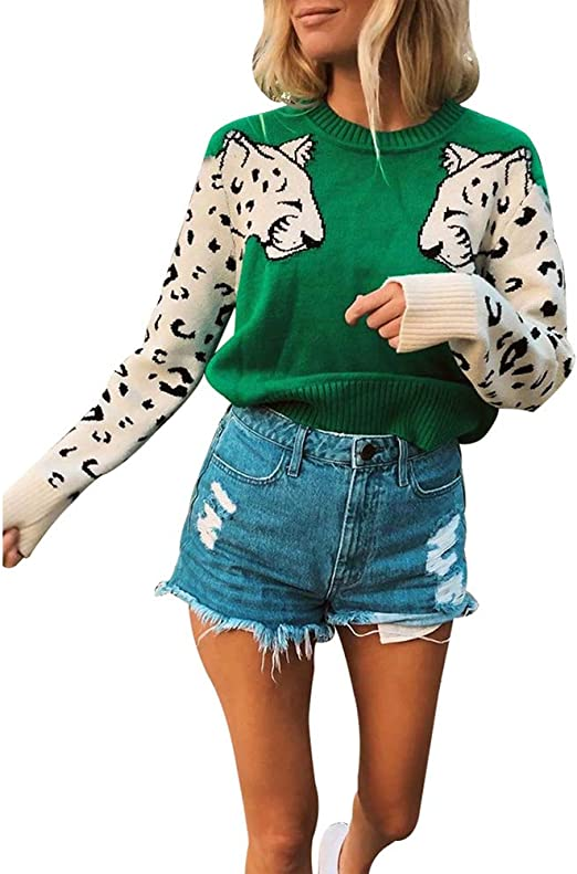 New Womens Leopard Print Long Sleeve Knitted Jumper Warm Sweater Pullover Top