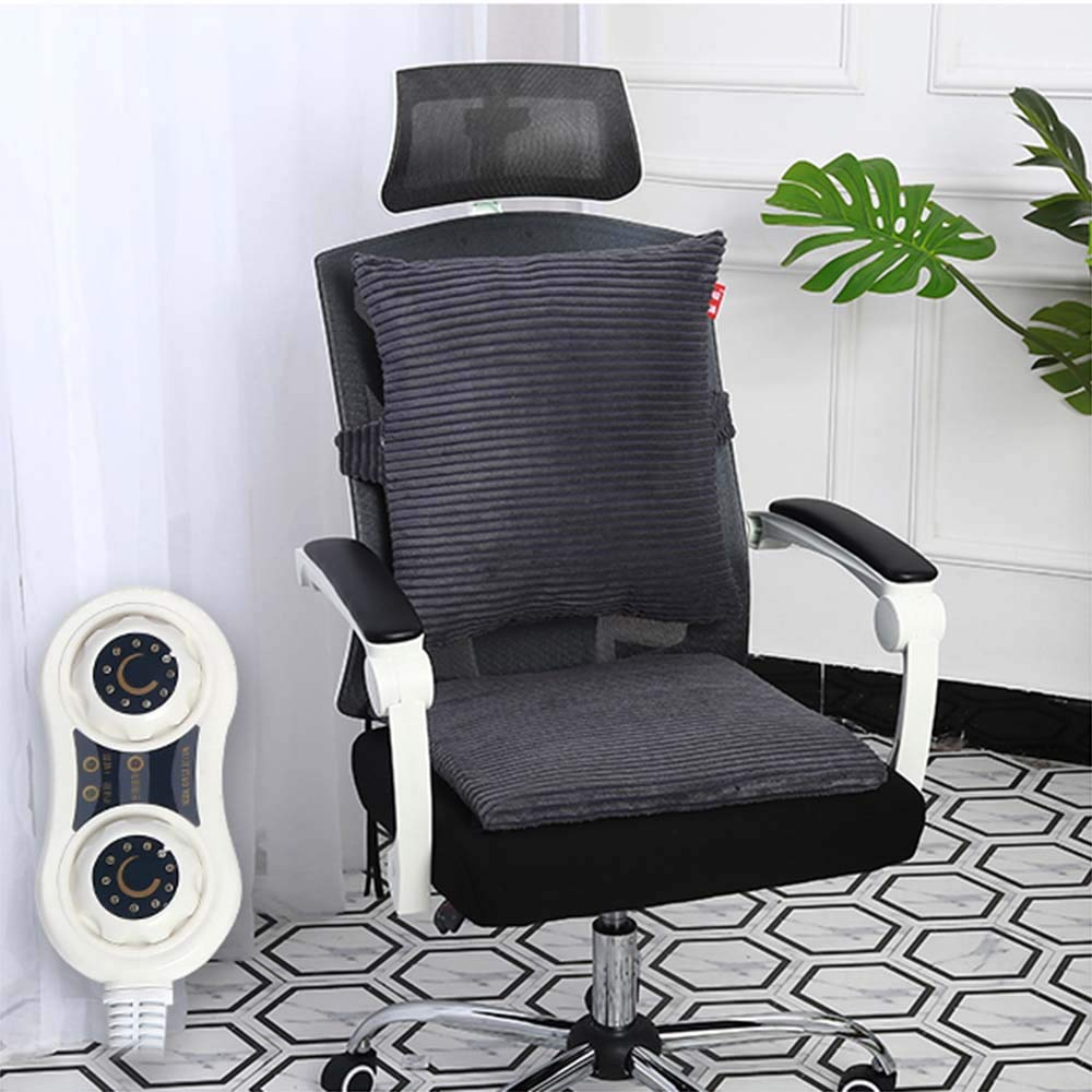 Electric Heating Mat Office Back Heated Chair Cushion Electric Blanket Cotton Super Soft Winter Warm Pad 220V,Unisex,Beige