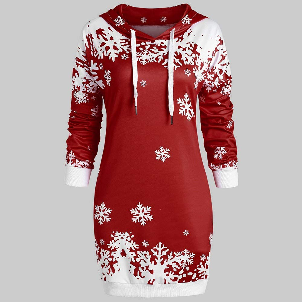 4Clovers Fashion Women Christmas Snowflake Printed Tops Winter Warm Casual Hooded Pullover