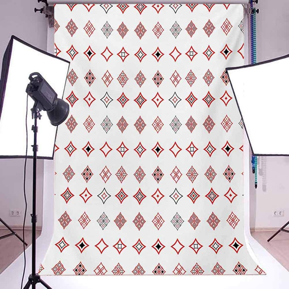 Abstract 6.5x10 FT Backdrop Photographers,Diamond Shaped Geometric Figure with Inner Artful Forms Symbolic Architecture Icon Background for Baby Birthday Party Wedding Vinyl Studio Props Photography