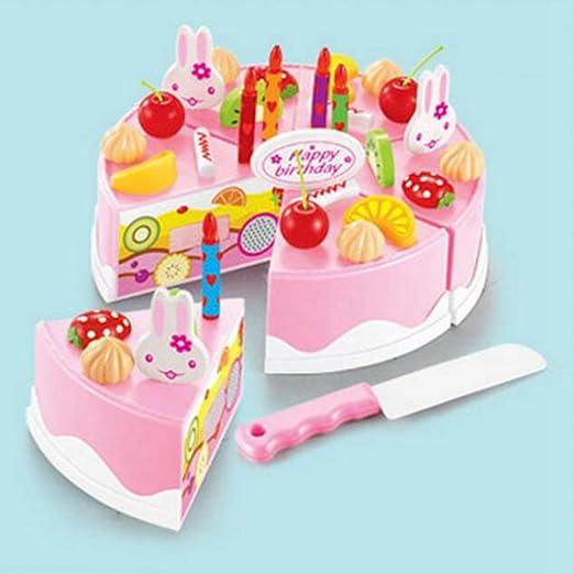 Eleganantimpresionante Juguetes pretendidos para niños para Cortar Frutas, cumpleaños, Tartas, 37 Piezas, Rosa, 37Pcs
