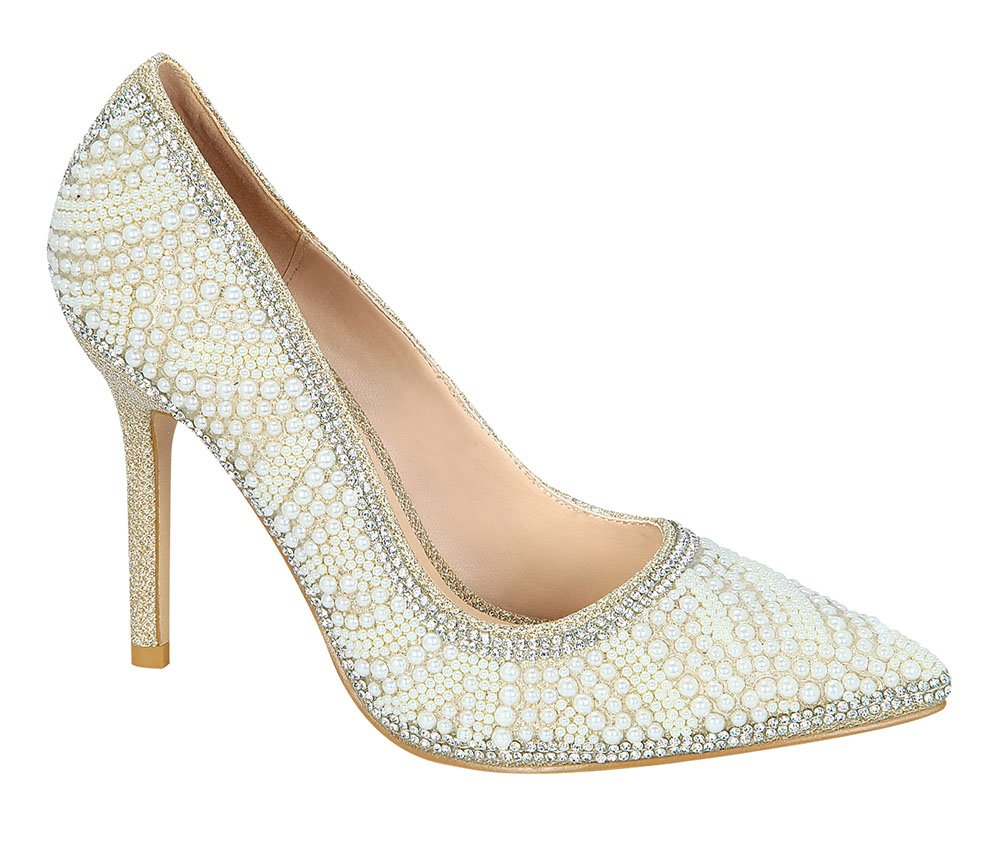 De Blossom Collection Women's Sparkle Pearl Pointed-Toe Pump Nude 8