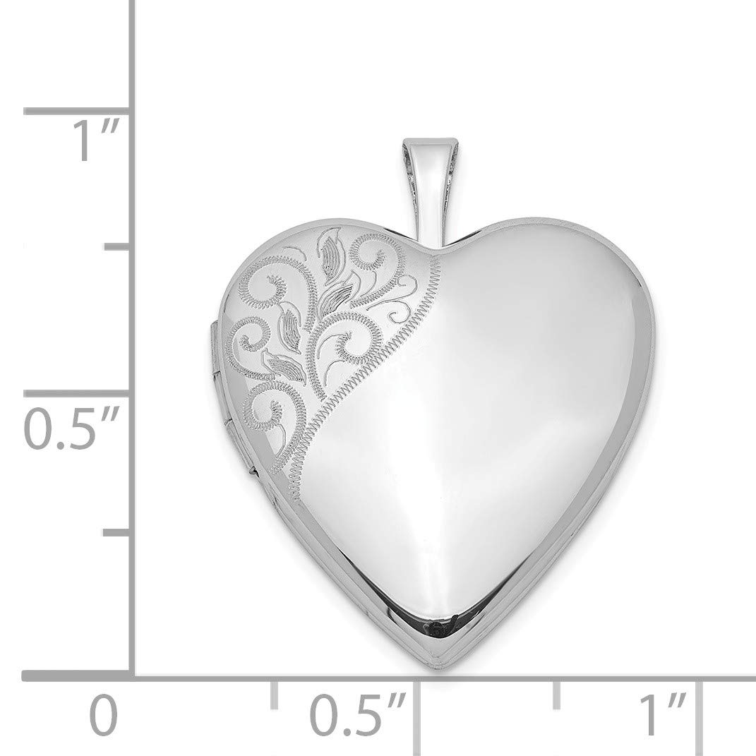 Sterling Silver 20mm Swirl Accent Heart Locket