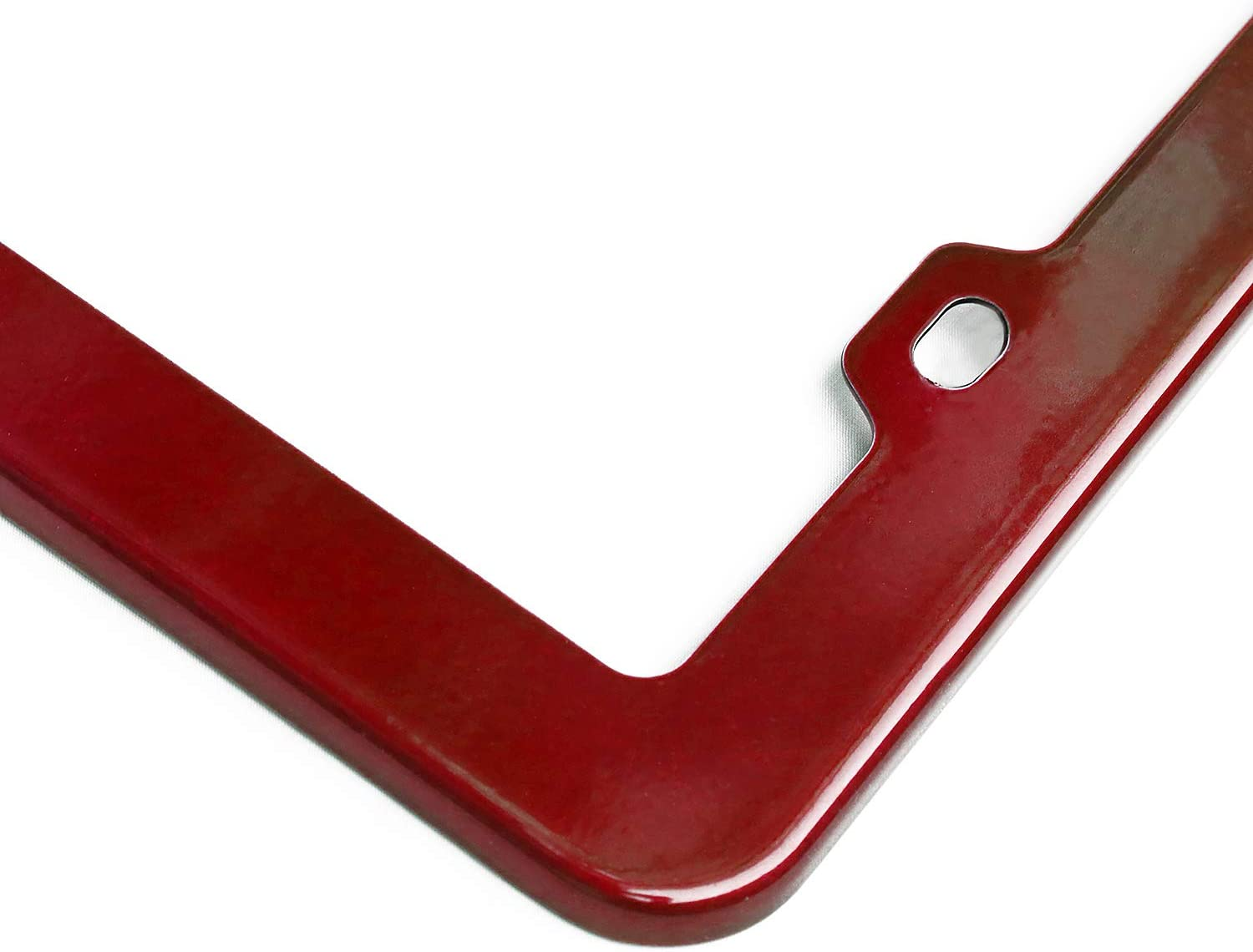 creathome 201 Stainless Steel License Plate Frames with Shining Red Color