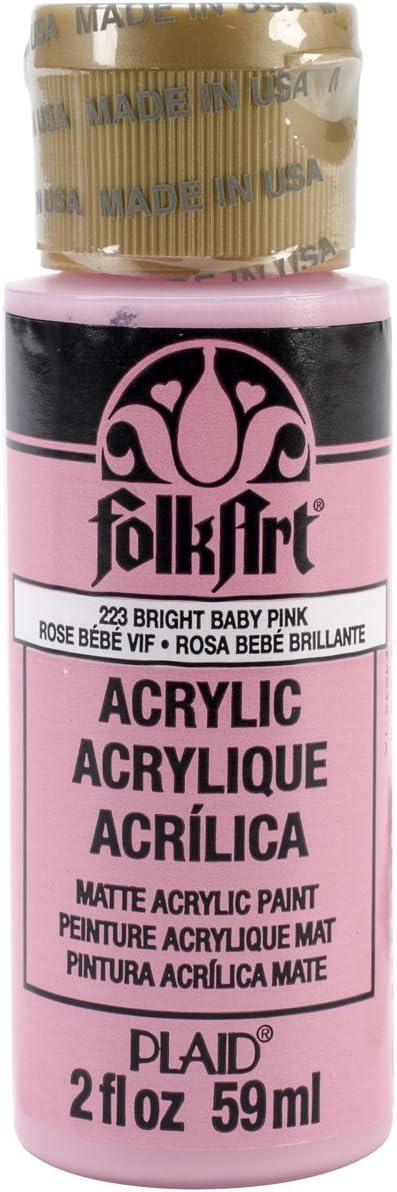 Plaid:Craft Folk Art Acrylic Paint 2oz-Bright Baby Pink
