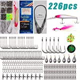 AGOOL Saltwater Lure Surf Tackle Gear Set - 226PCS Saltwater Fishing Tackle Crankbaits Lures Minnow Bucktail Jig Lure Sabiki Rig Octopus Hooks Sinkers Weights Barrel Swivel Beads Fishing Accessories