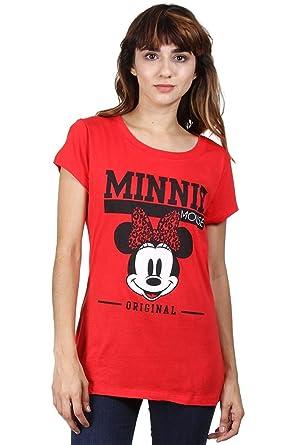 03c6bce27b30 Disney Womens Minnie Mouse Leopard Bow Design Shirt Red  Amazon.de ...