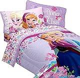 Disney Frozen Love Blooms Twin Microfiber Comforter & Cotton Rich Sheet Bedding Set