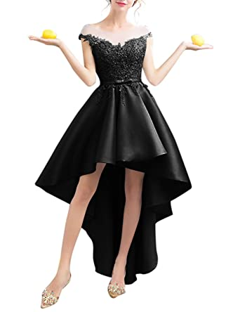 Womens Satin High Low Homecoming Dresses 2018 Formal Prom Gown Size 2 Black