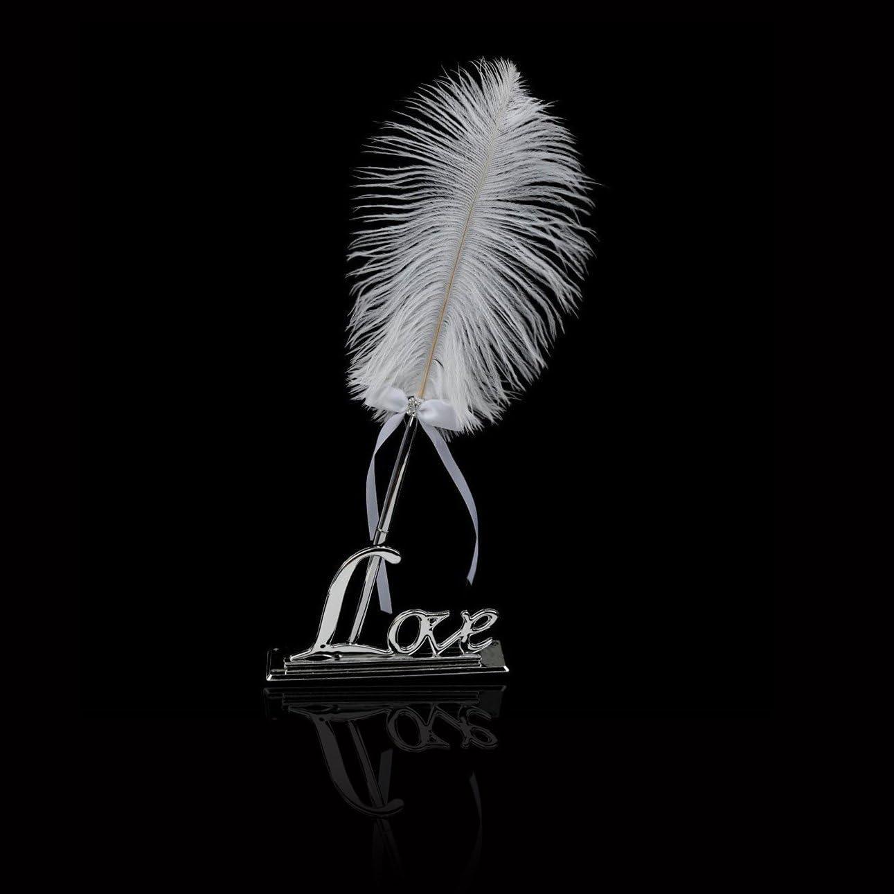 OFKPO Hochzeit Unterzeichnung Stift,Wei/ße Feder Stift mit Silber Love Stifthalter