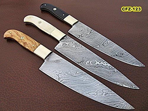 CFZ-123, Custom Handmade Damascus Steel Chef Knives - Solid White Bone, Bull Horn & Olive Burrel Wood Handles