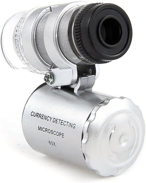 Aussel 60 x - Lupa de microscopio ajustable con detector de moneda ...