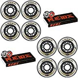 Labeda Inline Wheels Lazer 76mm 82A Clear x8 Bones Reds