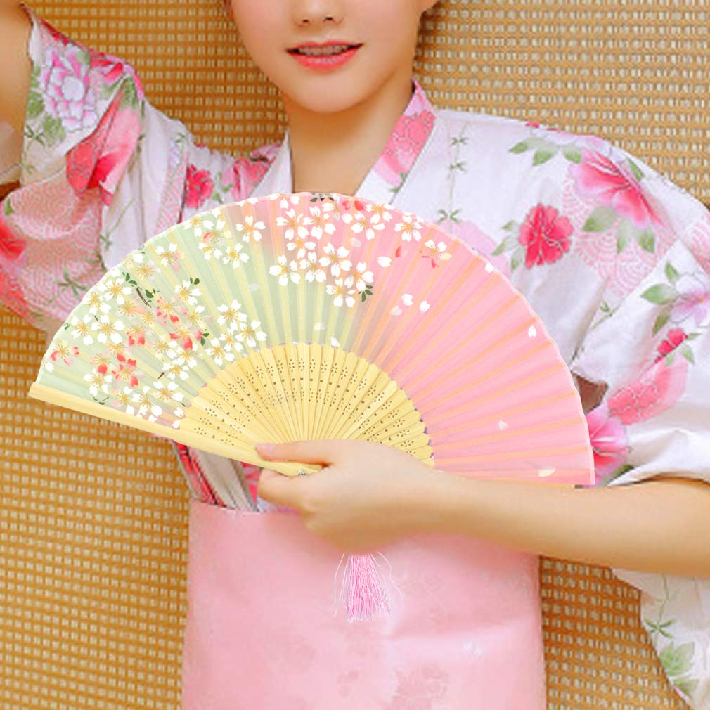 Yolyoo Hand Held Silk Folding Fans Chinese Japanese Bamboo Fans in Delicate Box,Chinese Vintage Retro Style Handcrafted Fans for Festival, Dance, Gift, Decorations