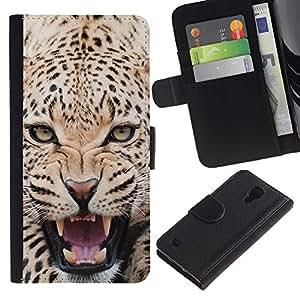 Billetera de Cuero Caso Titular de la tarjeta Carcasa Funda para Samsung Galaxy S4 IV I9500 / Fierce Majestic Leopard Panther / STRONG