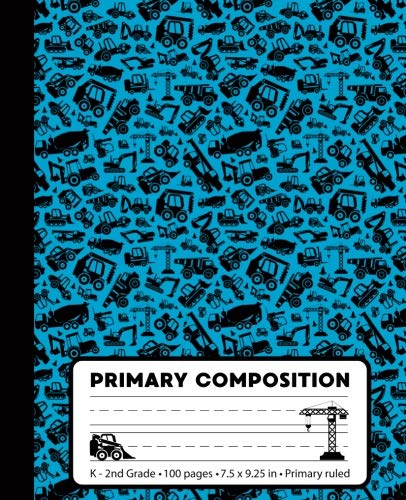 Primary Composition: Construction Blue Marble Composition Book for Boys K-2. Trucks notebook handwriting paper. Primary ruled - middle dotted guide ... 7.5 x 9.25 inches (Primary Composition Books)