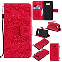 Galaxy S6 Edge Phone Case,Samsung Galaxy S6 Edge Case Leather Wallet,Gostyle Sun Flower Pattern Embossed Stand Feature PU Flip Cover Magnetic Closure with Card Slots Holder and Wrist Strap(Red)