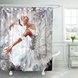 TOMPOP Shower Curtain Gray Ballet Oil Painting Girl Ballerina Drawn Cute Dancing Dance Artist Waterproof Polyester Fabric 72 x 72 inches Set with Hooks