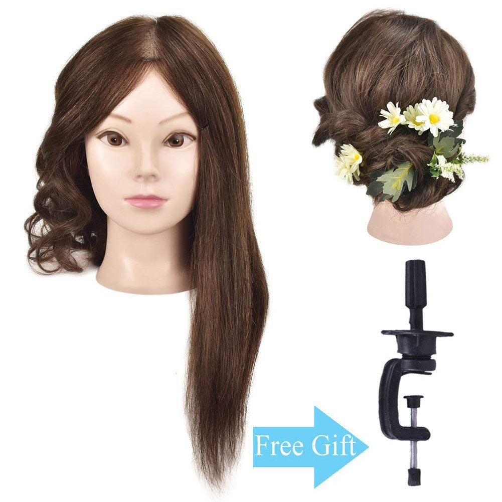 Ba Sha Mannequin Head, 18 Inches Long with 100% Human Hair Hairdresser Training Head Manikin Cosmetology Doll Head With Free Table Clamp