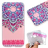 Galaxy J3/J3 2016 Case,Galaxy J3/J3 2016 Cover,Leeook Fashion Creative Transparent Cute Blue Red Mandala Flower Pattern Design Soft Ultra Thin TPU Silicone Protector Back Rubber Clear Flexible Slim Bumper Shell Mobile Phone Case Cover for Samsung Galaxy J3/J3 2016 + 1 x Free Black Stylus