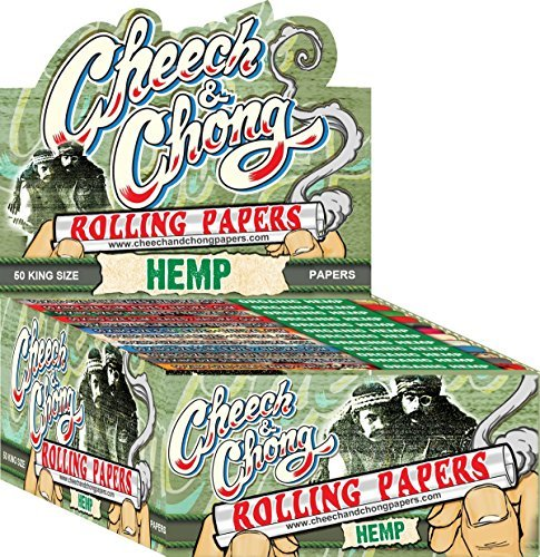 50 Packs Cheech and Chong King Size Hemp Cigarette Rolling Papers (50 Rolling Papers Per Pack) + Limited Edition Beamer Smoke Sticker. Used with Legal Smoking Herbs, Rolling Tobacco, Herbal Mixes