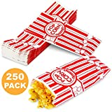 2 oz Popcorn Bags - Disposable Popcorn Containers Paper Popcorn Boxes Flat Bottom Striped Red and White - Perfect for Movie Night, Concessions, Carnival Party Circus, and More – 250 Pack