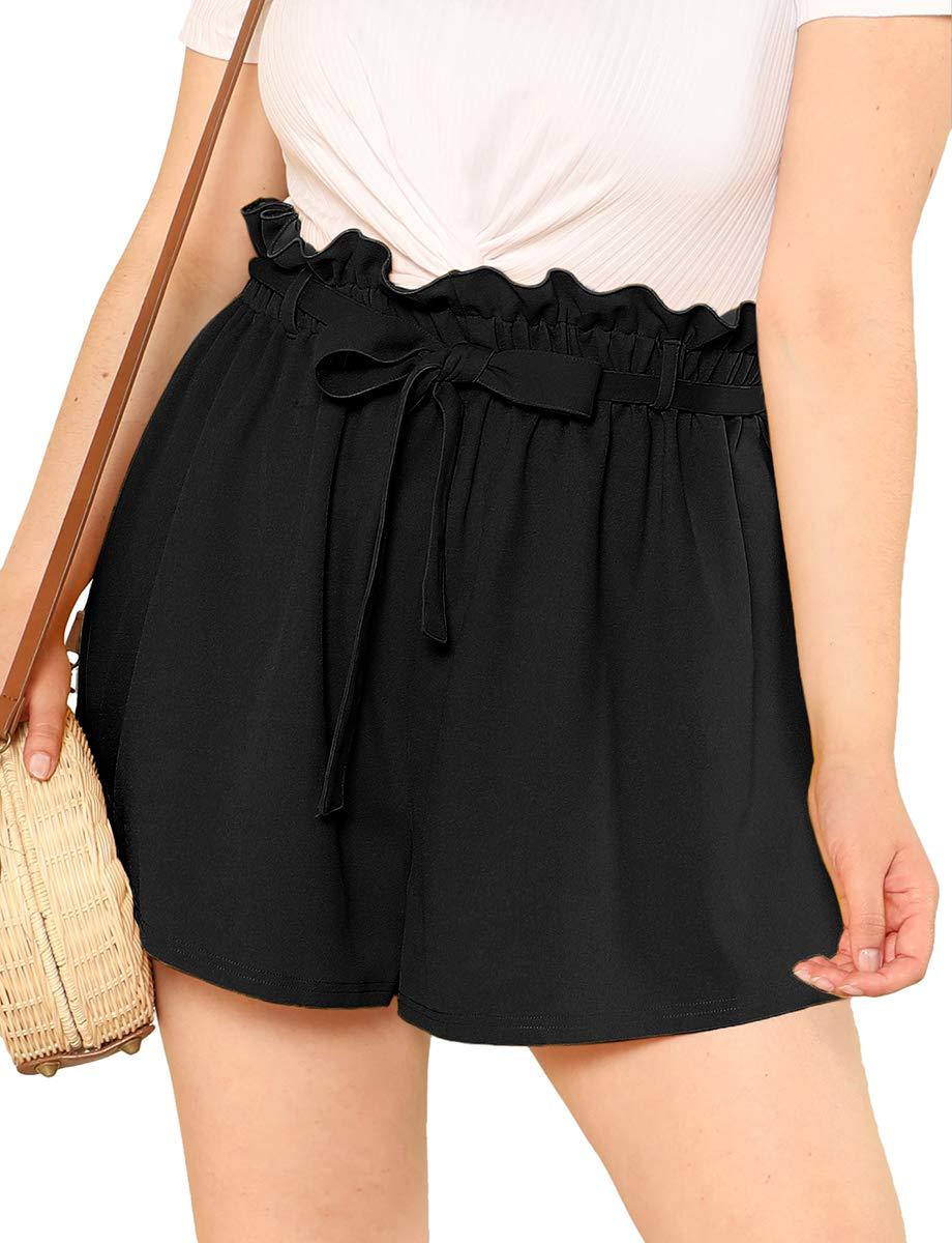 Romwe Women's Plus Size Casual Elastic Waist Loose Walking Shorts Black 1XL by Romwe