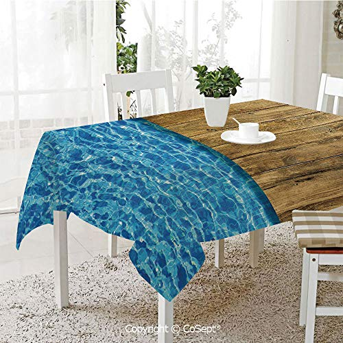 Polyester tablecloth,Summer House Seem Swimming Pool with Wooden Seem Deck Image Decorative,Fashionable Table Cover Perfect for Home or Restaurants(60.23