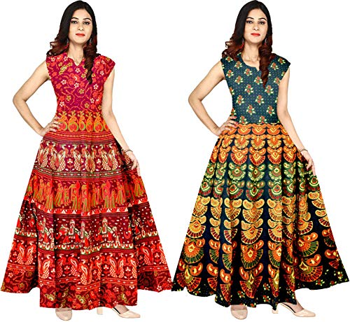 New Krishna Fashions Women's Cotton Nighty Dress (FK_644, Multicolour, Free Size) – Pack of 2 Pieces