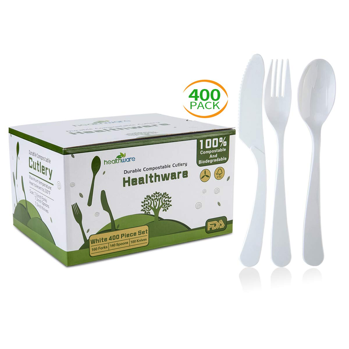 Biodegradable Compostable Forks Spoons Knives, 100% CPLA 400 Pack 7.3 Inch White Disposable Biodegradable Cutlery Set, 8.3 Pounds Heavyweight Eco-friendly (160 Forks,140 Spoons and 100 Knives) by healthware