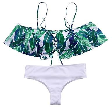 d977c5eccaa8e Hirolan Damen Bandage Bikini einstellen Blätter Drucken Strandkleidung  Sommer Badeanzug Hochdrücken Bademode Frauen Push-up