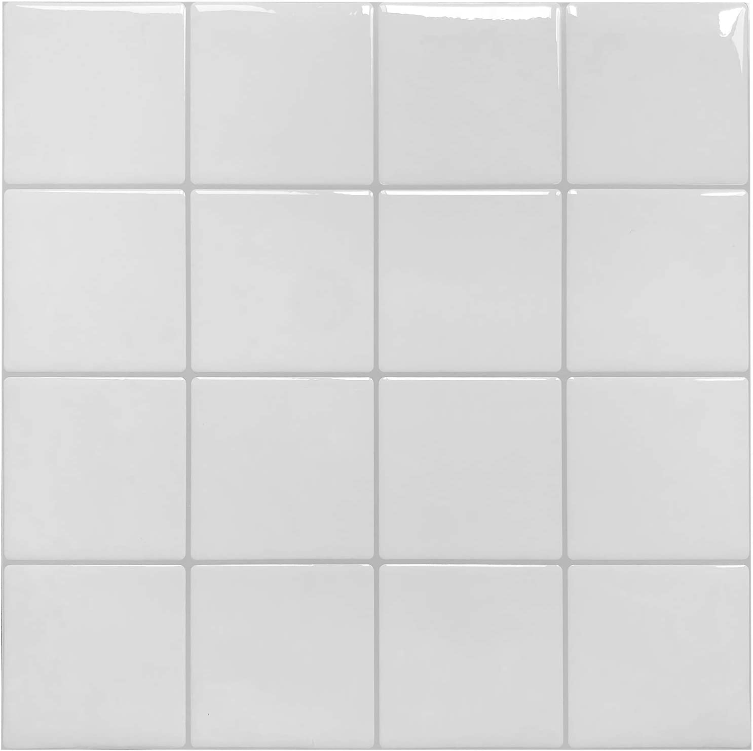 Peel and Stick Kitchen Backsplash Tiles, White Decorative Tile (10 Sheets)