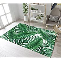 Tropical Jungle Banana Leaves Pattern Print Rug by LB, Watercolor Tropical Plant Leaves Design Area Rug for Living Room Study Kids Room, Non Toxic Flannel Anti Slip Decorative Rug, 39 x 59