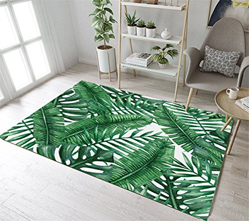 LB Tropical Jungle Banana Leaves Pattern Print Rug, Watercolor Tropical Plant Leaves Design Area Rug for Living Room Study Kids Room, Non Toxic Flannel Anti Slip Decorative Rug, 47 x - Leaf Rug Print