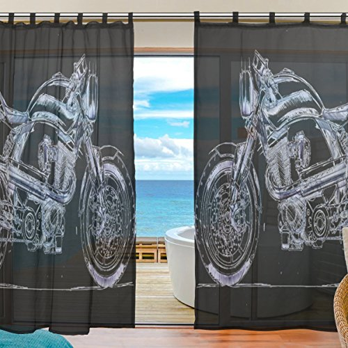 INGBAGS Bedroom Decor Living Room Decorations Retro Motorcycle Pattern Print Tulle Polyester Door Window Gauze / Sheer Curtain Drape Two Panels Set 55x78 inch ,Set of 2