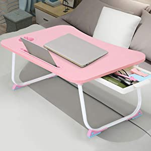 Abvenc Foldable Laptop Table Lapdesk, Large Bed Tray Multifunction Laptop Desk with Storage Drawer, Portable Mini Picnic Desk,Notebook Stand Read Holder for Sofa Couch Floor