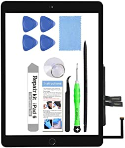 for iPad 6 (6th Gen 2018) A1893 A1954 Screen Replacement Glass Touch Digitizer Repair Kit with Home Button & Tools - Only for iPad 6 6th Generation (Black)