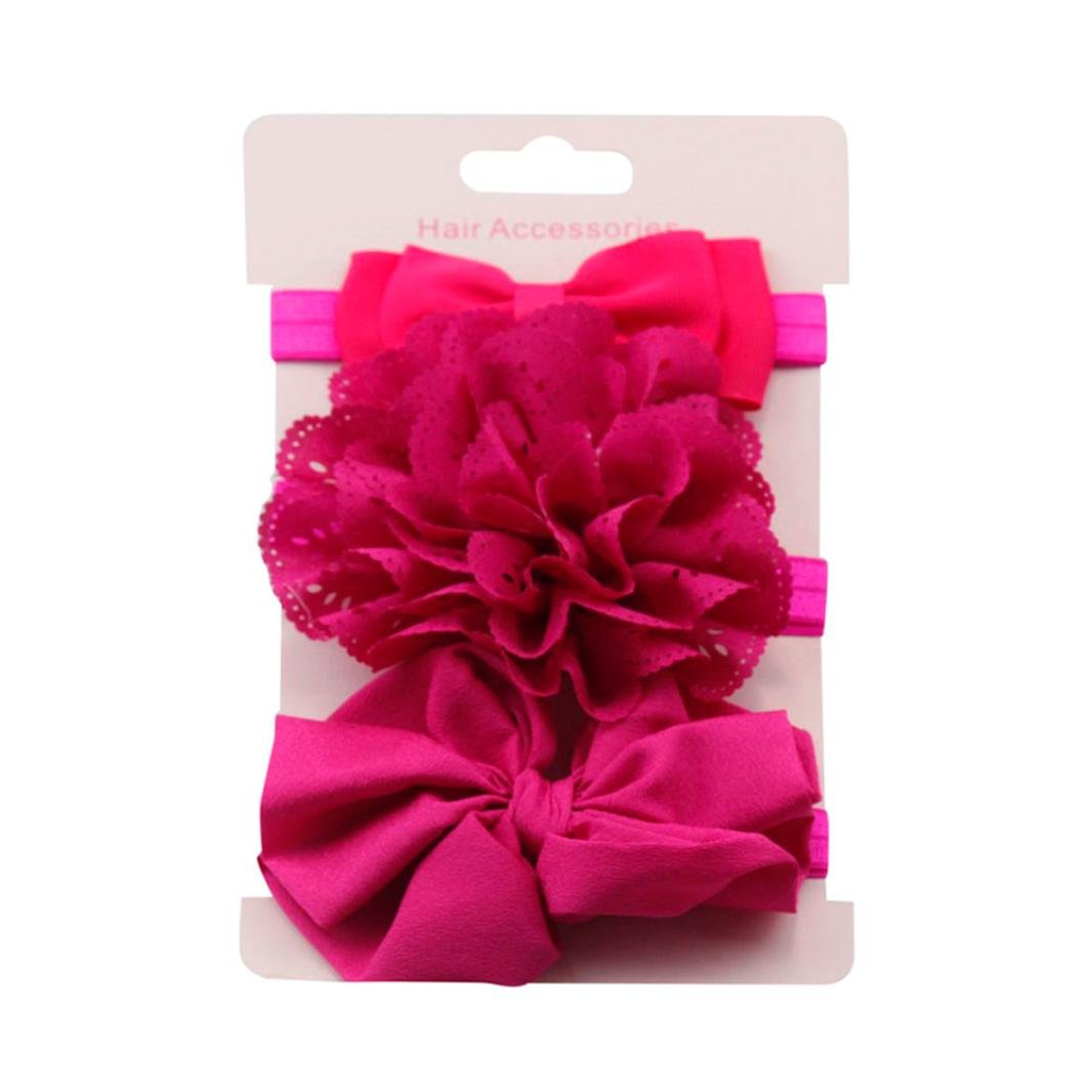 Clearance! 3pcs Baby's Headbands Girl's Cute Hair Bows Hair Bands Newborn Headband (Hot Pink) by Bookear (Image #1)