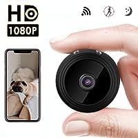 Jslai Telecamera Spia WiFi Mini Camera IP Telecamera 1080p HD Nascosta Spia Fotografica Mini telecamera di sicurezza portatile Telecamere di sorveglianza grandangolo 150 gradi di sicurezza domestica Rilevazione di movimento e visione notturna per iPhone Android iPad PC