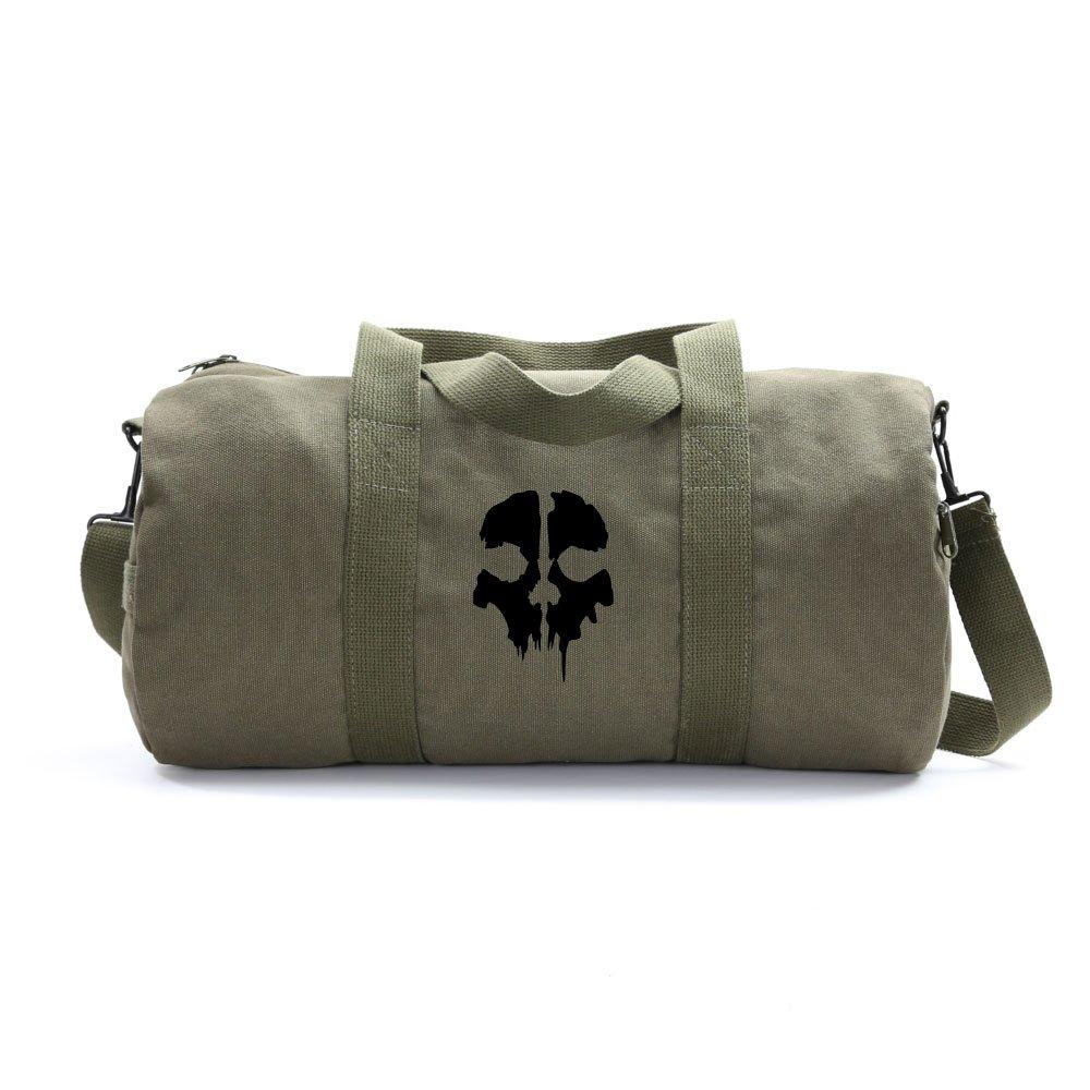 Call of Duty Ghost Skull Logo Army Sport Heavyweight Canvas Duffel Bag in Olive & Black, Medium