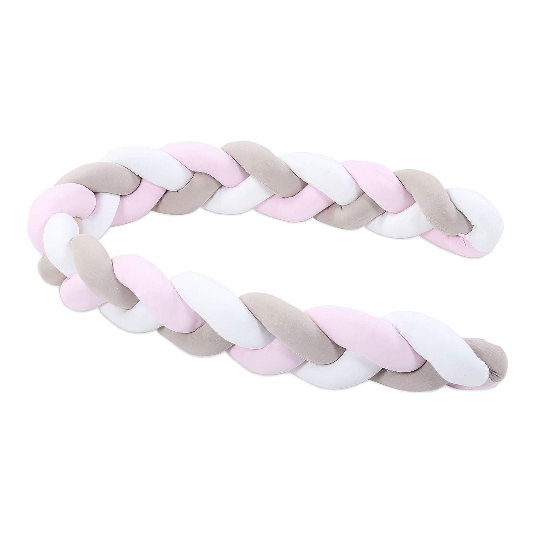 wei/ß//beige//ros/é babybay Nestchenschlange geflochten passend f/ür alle Modelle