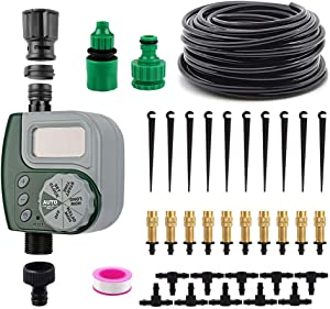 VAlinks Automatic Drip Irrigation System with Digital Timer, Self Watering Kits Garden Irrigation Equipment, 33ft 1/4